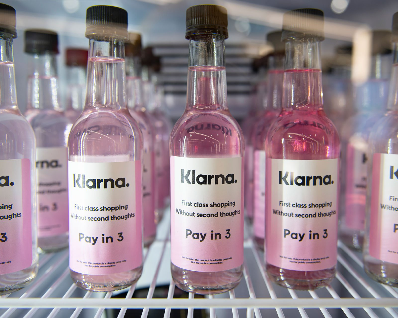 Klarna labelled bottles